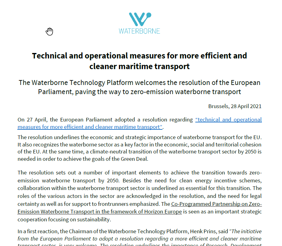 The Waterborne Technology Platform welcomes the resolution of the European Parliament, paving the wa