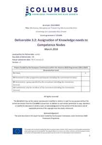 D3.2 - Assignation of Knowledge needs to Competence Nodes