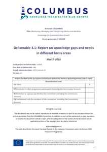 D3.1 - Report on knowledge gaps and needs in different focus areas