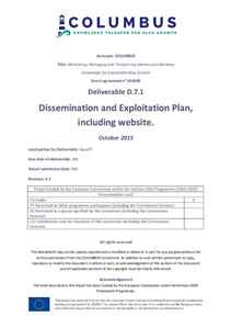 D7.1 - Dissemination and Exploitation Plan, including website
