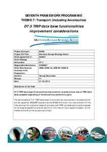 D7.5 - TRIP data base functionalities improvement considerations